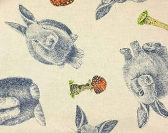 Fat Quarter Rabbits Toadstools Orange Cotton Linen Mix Quilting Fabric Japanese