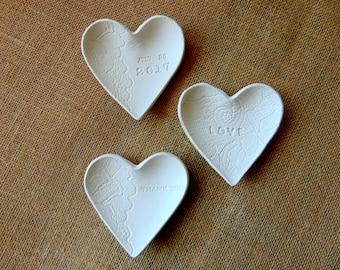 Wedding Favors, 12 Wedding Heart Ring Dish, Clay Wedding Favors, Ring Bearer Dish