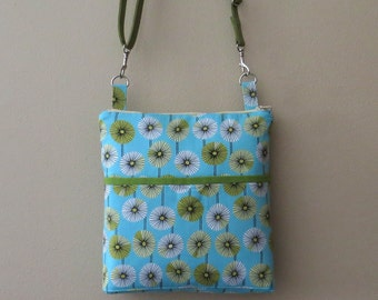 Blue floral bag, blue crossbody bag, flower hip bag, flower purse, blue zipper purse, womens hip bag, blue flower hip bag, spring bag