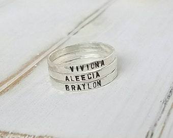 3 Sterling Silver Name Rings, 2mm, Stackable Name Ring,  Personalized Name Rings, thin stacking rings, Name ring, Stacker rings, Hammered