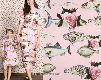 Summer Dress Blouse Skirts Fabric Pink Rose Flower Fish Fashion Silky Fabric - 1/2 yard