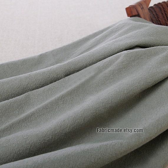 Grey Gray Khaki Linen Fabric, Natural Pre Washed Linen Cotton Blend Fabric- 1/2 Yard