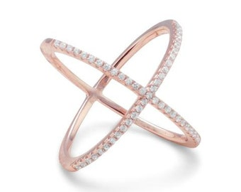 FLASH SALE 50% 18 Karat Rose Gold Plated Criss Cross 'X' Ring with Signity CZs 83598