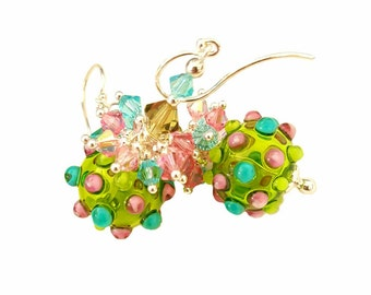 Green Hollow Glass bead earrings with pink, blue, light green bumps, Swarovski Crystals, Argentium Sterling Silver