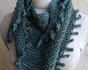 green blue triangular shawl w picot edge