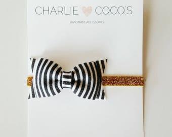 Baby/Girls Felt Bow Headband-  Black and White Stripe Felt Hair Bow, Gold Glitter Headband, Baby Felt Bow Glitter Headband by charlie cocos
