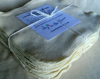 24 perfect little cotton hankies - organic - 7x7 inches - natural color