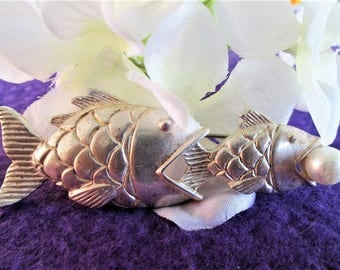 Silver Double Fish Pearl Brooch Figural Designer Signed AK Anne Klein Vintage Jewelry Gift Mother's Day Birthday