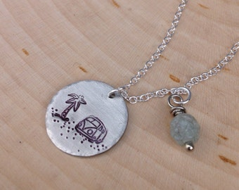 Volkswagen bus on the beach - small circle pendant