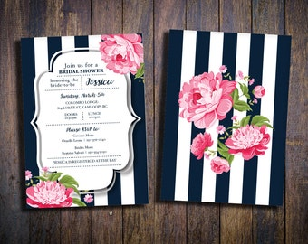 Bridal Shower Invitation - Navy with Pink Peonies (Printable, Boho Bridal Shower, Rustic Bridal Shower)