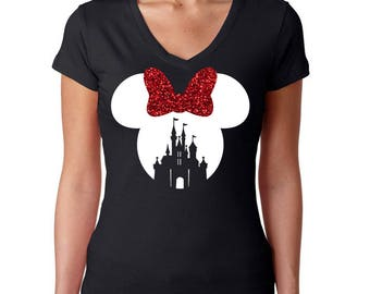 L - FULL GLITTER Minnie Mouse Castle Black w/ Red and White Bow*  V Neck Cap Sleeve Shirt * Jersey Top * Run Disney * Disneyland/World