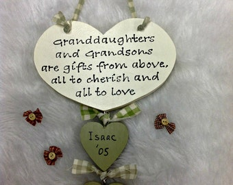 Personalised Grandparents Heart Grandchildren's Names Birthdays