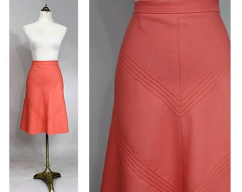 1970s Tangerine Skirt A shape small made in France