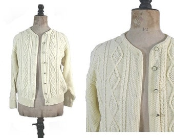 1980 french sweater cardigan ivory wool