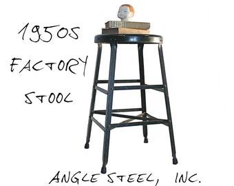 Vintage Factory Stool - Industrial Seating - Metal Stool - Angle Steel Inc. - Green Enameled - Drafting Stool - Industrial Decor