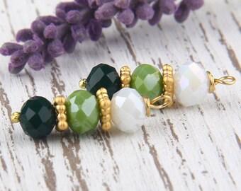Green, Ombre Bead Dangles, Crystal Bead Dangles, 2 pieces //BD-041