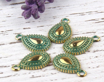 Verdigris Green Patina Spotted Teardrop Charms, Antique Bronze, 5 pieces // ABCh-020
