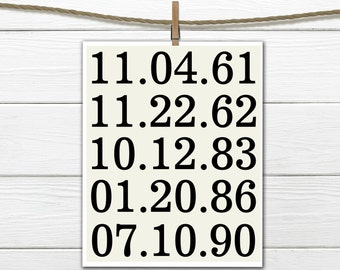Life's Important Dates - Gallery Wall decor - custom colors
