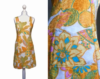 70's Print Dress - Retro Hawaiian Style Orange Print - 1970's Vintage Dress - Cotton Damask Floral Dress - Sundress