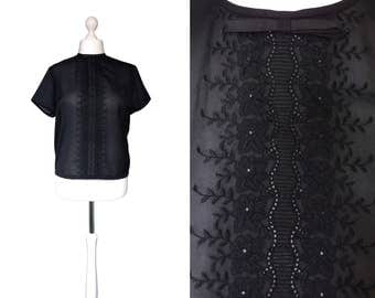 Black 1950's Blouse - 50's Vintage Blouse - Button Back - UK20 - Black Semi Sheer Lace Blouse