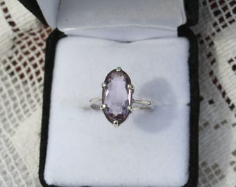 1950s 60s Vintage Sterling Silver Pink Amethyst Ring