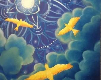Fly Away Home - mandala painting - birds