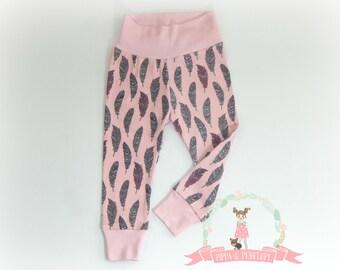 Baby Leggings, Toddler Leggings, Knit Pants, Baby Girl Clothing, Pink Leggings, Feather Leggings, Baby Pants