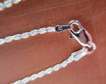 15 inch Sterling Silver Rope Chain, Necklace with Sterling Lobster Claw Clasp