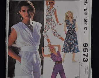 1980's Brooke Shield Pattern - Size 8 - Jumpsuit and Dress - Easy McCall's 9573