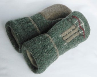 Womans/Teen -  Wool Mittens - Felted Wool Sweaters - Green/Khaki/Brown - Felted Sweater Mittens - OOAK