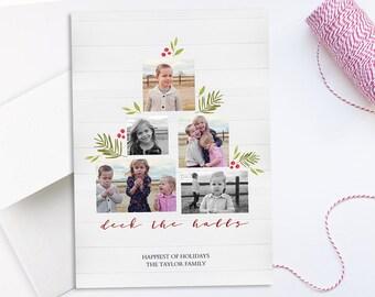 """Photo Christmas Card: Farmhouse Deck The Halls // 5x7"""" printable digital Christmas Card // shiplap, country, wood, wreath"""