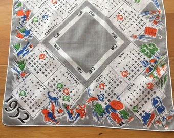Vintage 1952 Cotton Calendar Handkerchief showing month's activities and special holidays