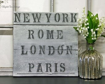 Reclaimed Wood Sign, Hand Painted Wood Sign, New York, Rome, London, Paris Wood Sign