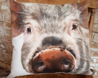 Handmade Square Rustic Pig Cushion Pillow Organic Cotton With Or Without Inner