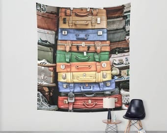 Wall Hanging Tapestry - Vintage Suitcases: Berlin, Germany [Retro Old Leather Luggage Travel Rainbow Bon Voyage Wanderlust Market Trunk]