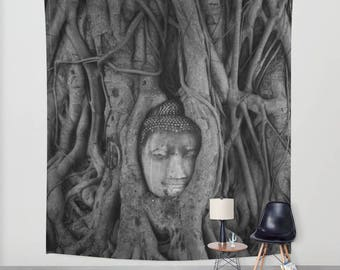 Wall Hanging Tapestry - It's Complicated: Wat Mahathat, Ayutthaya Thailand [Tree Root Buddha Wanderlust Adventure Bon Voyage Mystical Asia]