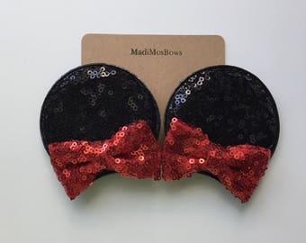 Minnie Mouse Clips RED Sequin perfect for pigtails to look like EARS