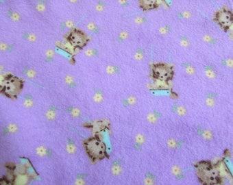 Kittens Large flannel receiving blanket, swaddle blanket, for baby girl, super soft & fluffy, swinging kittens in purple, reusable gift wrap