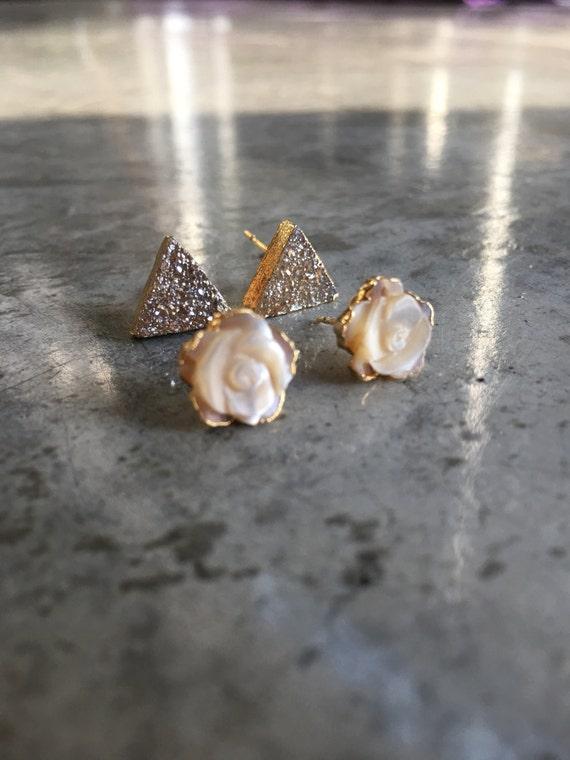 Earring Set Druzy Earrings and Shell Rose earrings