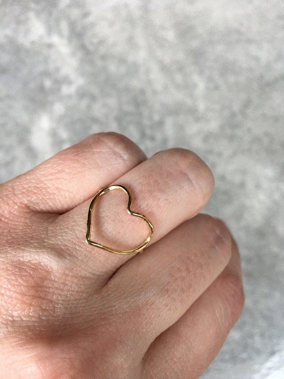 Heart gold ring