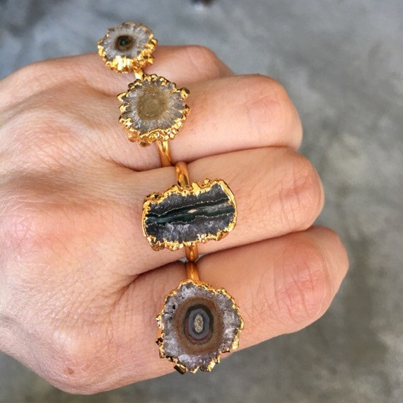 Stalactite agate sliced ring