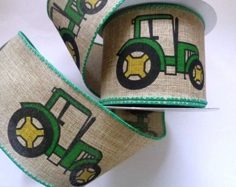 "Tractor Linen Wired Ribbon Trim, Multi, 2 1/2"" inch wide, 1 yard For Home Decor, Nusery, Gift Basket, Children Crafts"