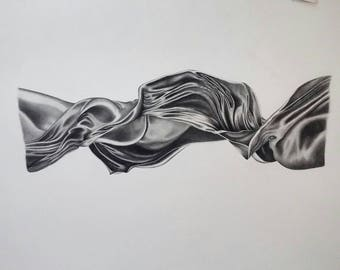 """Original Charcoal Drawing~ """"Twisted""""~30"""" x 22"""" ~ Free Shipping"""