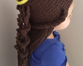 Crocheted Belle Hat, Crochet Belle Wig, Choose your size