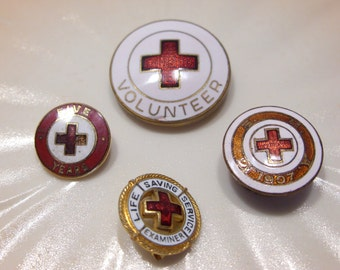 Four Red Cross Pins: Volunteer, Five Years, 1907, Life Saving Service Examiner