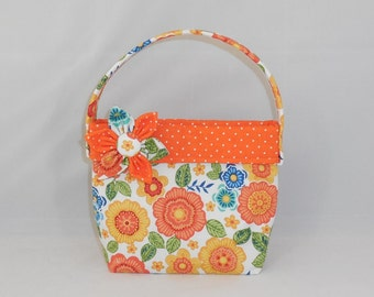 Orange Floral Little Girls Fabric Purse With Detachable Fabric Flower PIn