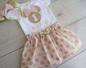 1st Birthday Minnie Mouse Set/Pink and Gold Theme/3pc with Ears/ 3 pc Skirt Set
