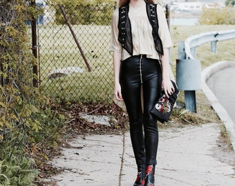 Two tone leather high rise skinny pants