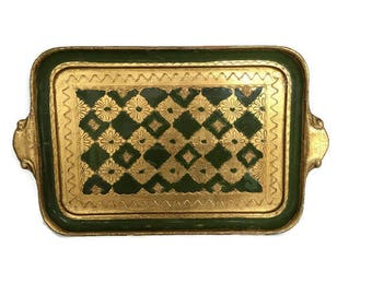 Vintage Italian Florentine Tray Green and Gold Medium Size Mid Century Drinks Tray