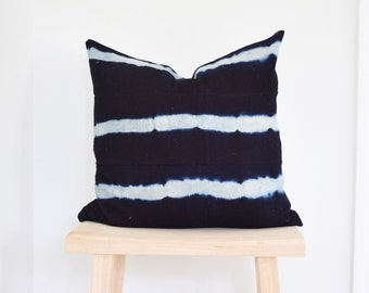 Authentic Indigo African Mudcloth Pillow Cover